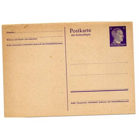 Carte postale allemande 6 pfennig bleue