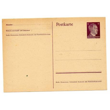 Carte postale allemande 6 pfennig brune