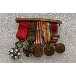 Barrette 5 décorations réductions 1ère Guerre Mondiale